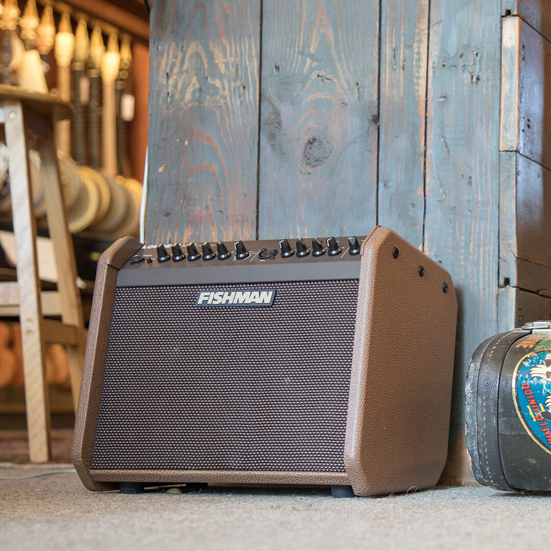Loudbox Mini Charge acoustic guitar amp on the floor