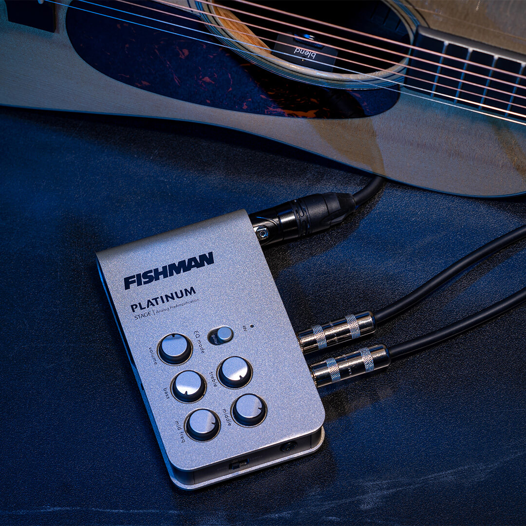Platinum Stage EQ Preamp PRO-PLT-301 on stage with acoustic guitar