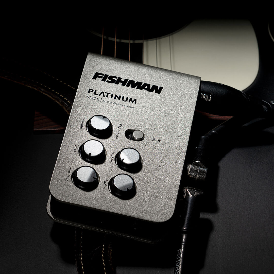 Platinum Stage EQ Preamp PRO-PLT-301 with acoustic guitar