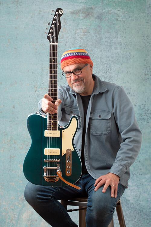 Fishman Greg Koch Gristle Tone P90 holding guitar