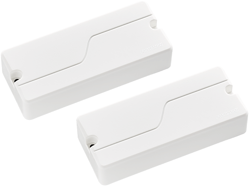 two white Fluence Soapbar 4-string bass pickups