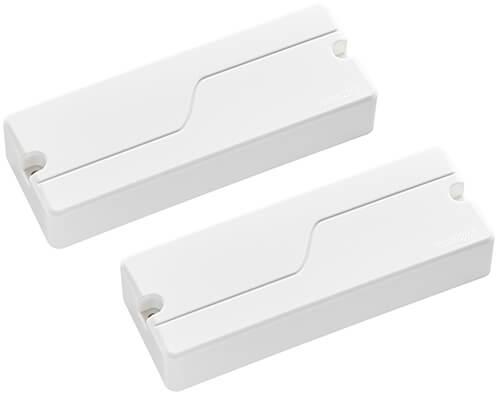 Two Fluence 5 string soapbar bass pickups in white