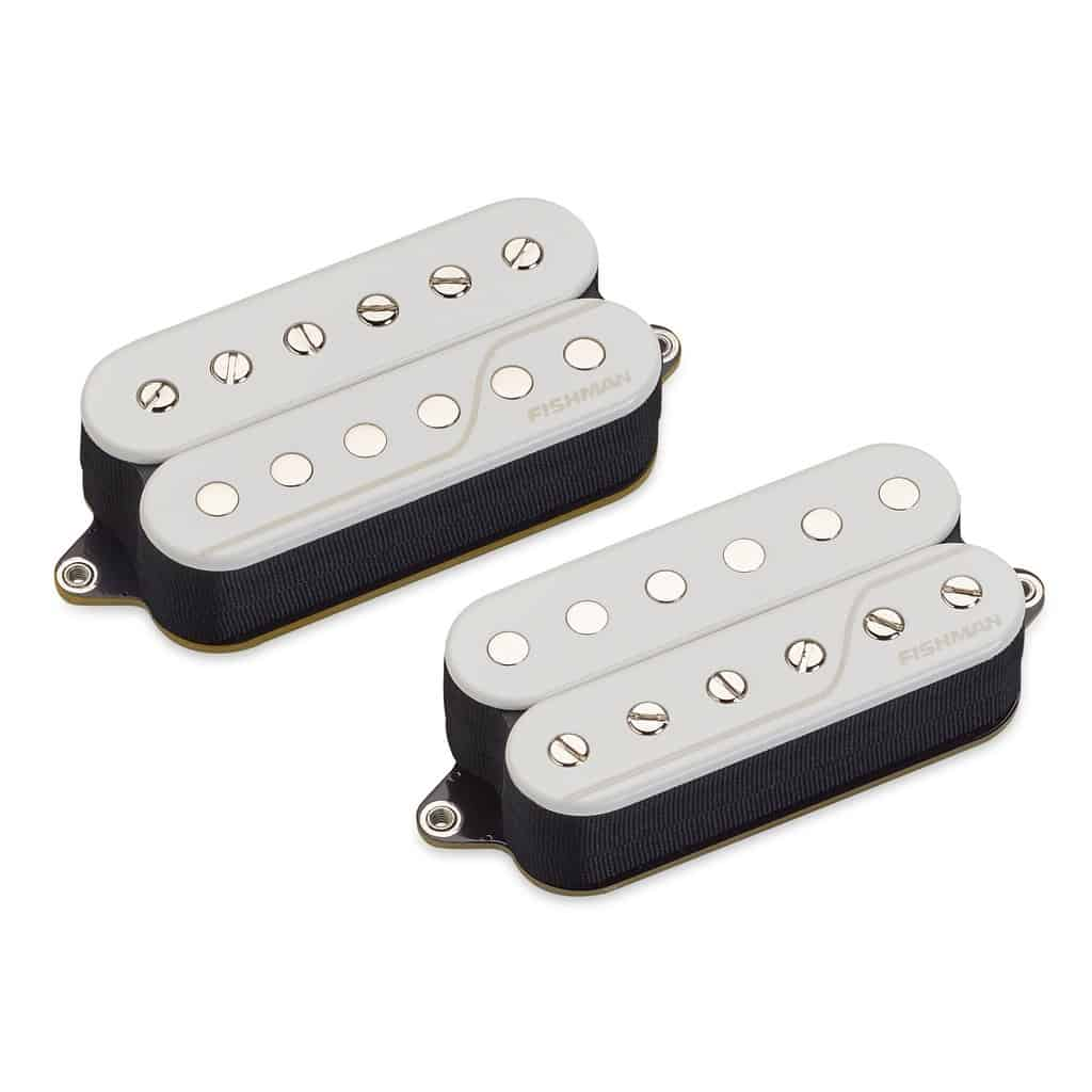 set of two white Fluence Open Core Classic Humbucker 6-string pickups