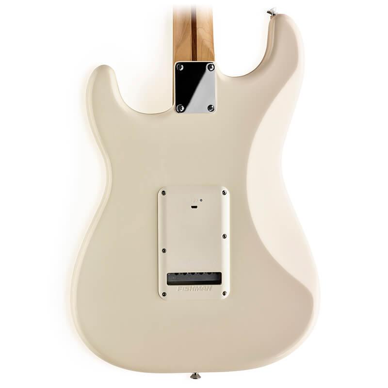 white Fluence battery pack installed on Strat® guitar