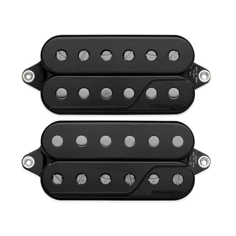 front view of black Fluence Signature Series Javier Reyes 6-string pickup set