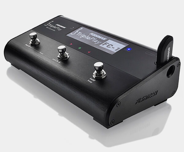 angled view of Fishman TriplePlay FC-1 Controller with display on