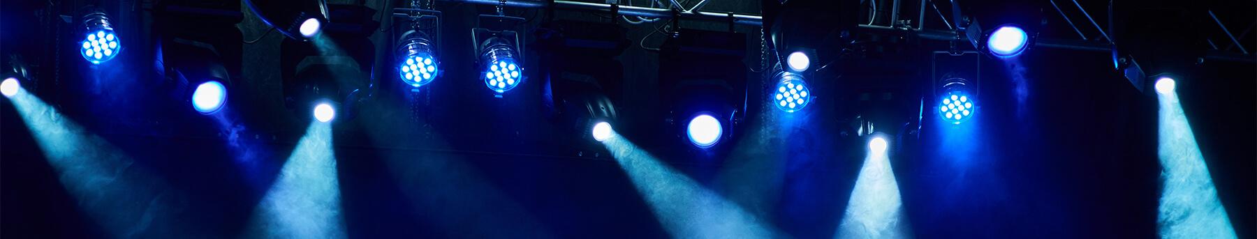 blue stage lights